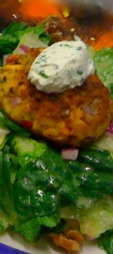 Salmon Cake with Parsley Cream Cheese on Tossed Greens