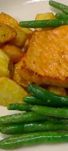 Miso Glazed Salmon with Roasted Yukon Gold Potatoes and Green Beans